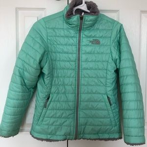 The North Face Girls Reversible Mint Green Jacket